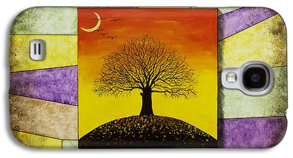 Tree Silhouette And Crescent Moon At Sunset Painting Galaxy S4 Case by Keith Webber Jr