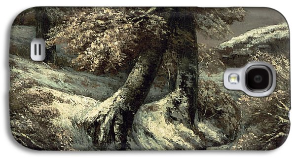 Trees In Snow Galaxy S4 Cases - Trees in the Snow Galaxy S4 Case by Gustave Courbet