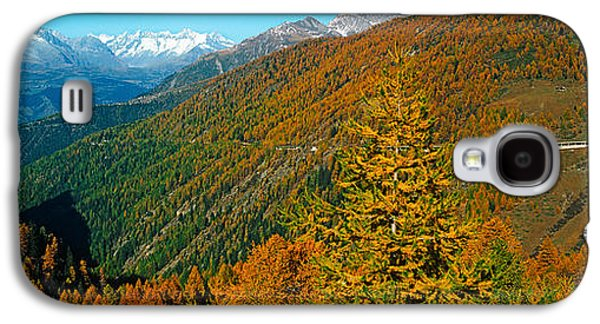 Mountain Road Galaxy S4 Cases - Trees With Road In Autumn At Simplon Galaxy S4 Case by Panoramic Images