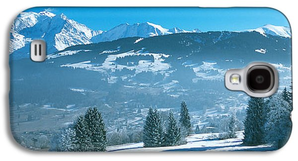 Rhone Alpes Galaxy S4 Cases - Trees With Snow Covered Mountains Galaxy S4 Case by Panoramic Images