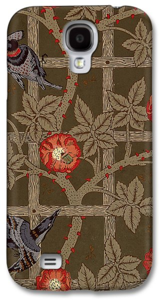 Food And Beverage Tapestries - Textiles Galaxy S4 Cases - Trellis with Birds Galaxy S4 Case by William Morris