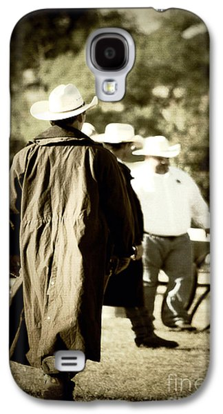 Old Fence Posts Galaxy S4 Cases - Trenchcoat Cowboy Galaxy S4 Case by Trish Mistric