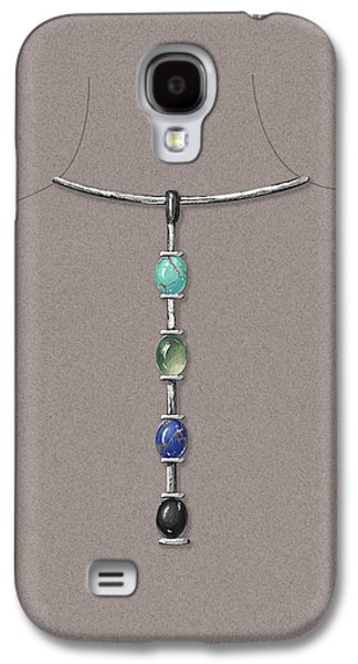 Zen Jewelry Galaxy S4 Cases - Tribal sylver Necklace Galaxy S4 Case by Marie Esther NC