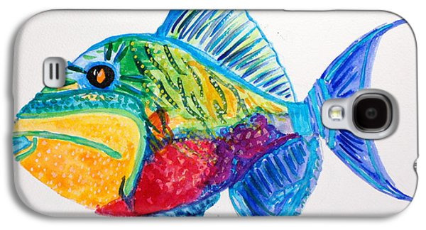 Triggerfish Paintings Galaxy S4 Cases - Trigger Galaxy S4 Case by Mary Susan Cannon