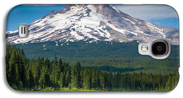 Canoeing Galaxy S4 Cases - Trillium Lake Blue Canoe Galaxy S4 Case by Inge Johnsson