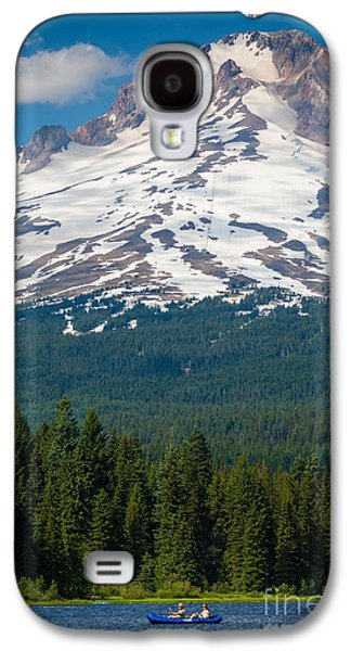 Canoeing Galaxy S4 Cases - Trillium Lake Canoe Galaxy S4 Case by Inge Johnsson