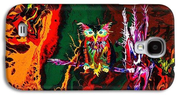 Trippy Paintings Galaxy S4 Cases - Trippy Owl Galaxy S4 Case by Devon  Ingram