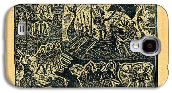 Linocut Drawings Galaxy S4 Cases - Trojan War Galaxy S4 Case by Milen Litchkov