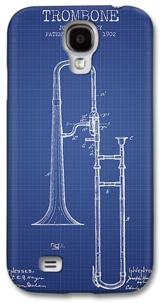 Trombone Patent From 1902 - Blueprint Galaxy S4 Case by Aged Pixel
