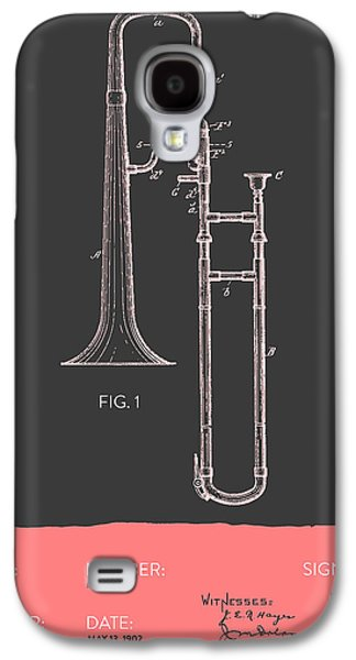 Trombone Patent From 1902 - Modern Gray Salmon Galaxy S4 Case by Aged Pixel