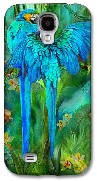 Tropic Spirits - Gold And Blue Macaws Galaxy S4 Case by Carol Cavalaris