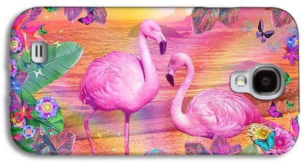 Alixandra Mullins Galaxy S4 Cases - Tropical Flamingo Galaxy S4 Case by Alixandra Mullins