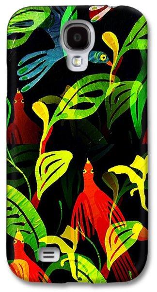 Avant Garde Mixed Media Galaxy S4 Cases - Tropical Flock Galaxy S4 Case by Sarah Loft