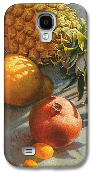 Still Life Mixed Media Galaxy S4 Cases - Tropical Fruit Galaxy S4 Case by Mia Tavonatti