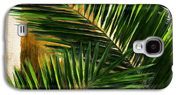 Botanical Digital Art Galaxy S4 Cases - Tropical Leaves Galaxy S4 Case by Lourry Legarde