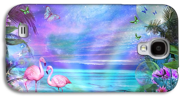 Beach Landscape Galaxy S4 Cases - Tropical Moonlight Flamingos Galaxy S4 Case by Alixandra Mullins
