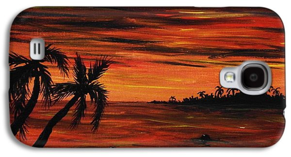 Ocean Paintings Galaxy S4 Cases - Tropical Night Galaxy S4 Case by Anastasiya Malakhova