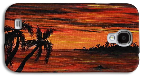 work Paintings Galaxy S4 Cases - Tropical Night Galaxy S4 Case by Anastasiya Malakhova