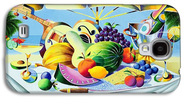 Champagne Paintings Galaxy S4 Cases - Tropical Still Life Galaxy S4 Case by Andrew Hewkin