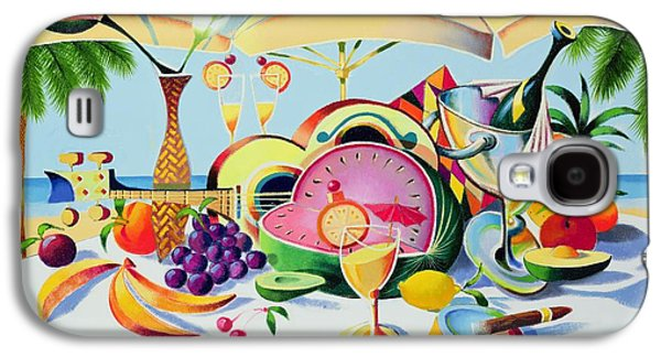 Champagne Paintings Galaxy S4 Cases - Tropical Still Life for a Cuban Cubist Galaxy S4 Case by Andrew Hewkin