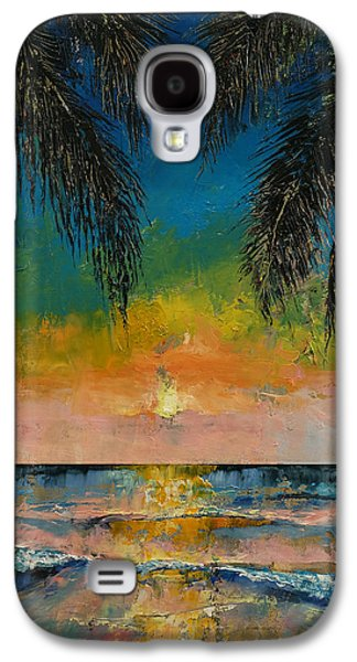 Sunset Abstract Paintings Galaxy S4 Cases - Tropical Sunset Galaxy S4 Case by Michael Creese