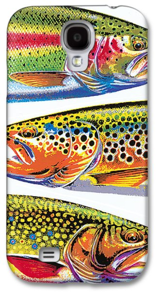 Flyfishing Galaxy S4 Cases - Trout Abstraction Galaxy S4 Case by JQ Licensing