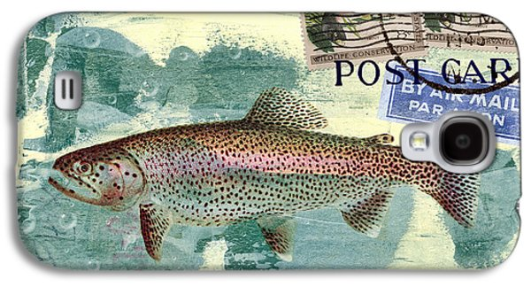 Postage Galaxy S4 Cases - Trout Fishing in America Postcard Galaxy S4 Case by Carol Leigh