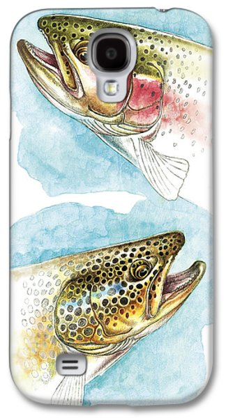 Flyfishing Galaxy S4 Cases - Trout Study Galaxy S4 Case by JQ Licensing