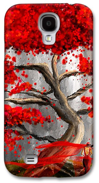 Shades Of Red Galaxy S4 Cases - True Love Waits - Red And Gray Art Galaxy S4 Case by Lourry Legarde