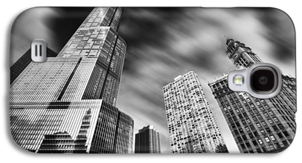 Chicago River Galaxy S4 Cases - Trump Tower in Black and White Galaxy S4 Case by Sebastian Musial
