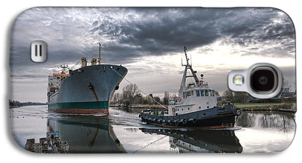 Pull Galaxy S4 Cases - Tugboat Pulling a Cargo Ship Galaxy S4 Case by Olivier Le Queinec