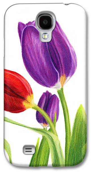 Tulip Garden On White Galaxy S4 Case by Sarah Batalka