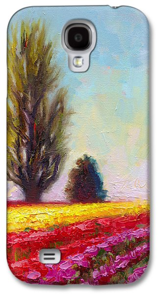 Spring Bulbs Paintings Galaxy S4 Cases - Tulip Sentinels Galaxy S4 Case by Talya Johnson