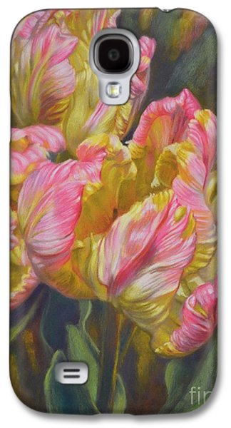 Floral Pastels Galaxy S4 Cases - Tulipomania 7 Pink and Yellow Parrots Galaxy S4 Case by Fiona Craig