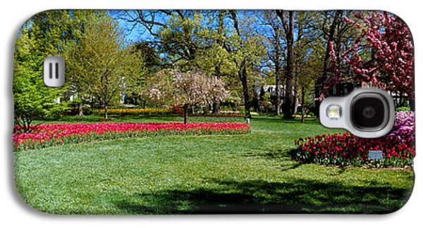 Garden Scene Galaxy S4 Cases - Tulips And Cherry Trees In A Garden Galaxy S4 Case by Panoramic Images
