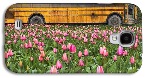 Beauty Mark Galaxy S4 Cases - Tulips and Old Bus Galaxy S4 Case by Mark Kiver