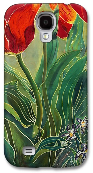 Dye Tapestries - Textiles Galaxy S4 Cases - Tulips and Pushkinia Galaxy S4 Case by Anna Lisa Yoder