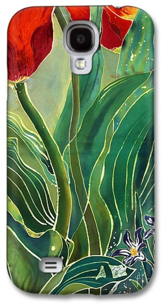 Dye Tapestries - Textiles Galaxy S4 Cases - Tulips and Pushkinia Detail Galaxy S4 Case by Anna Lisa Yoder