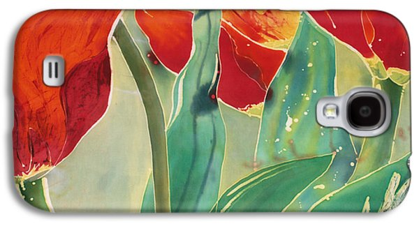 Dye Tapestries - Textiles Galaxy S4 Cases - Tulips and Pushkinia Upper Detail Galaxy S4 Case by Anna Lisa Yoder