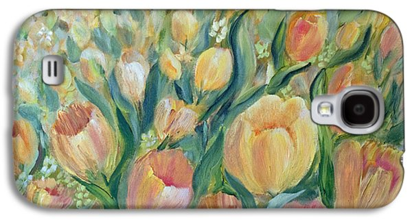 Spring Bulbs Paintings Galaxy S4 Cases - Tulips II Galaxy S4 Case by Joanne Smoley
