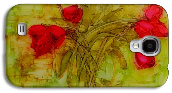 Interior Still Life Drawings Galaxy S4 Cases - Tulips in a glass vase Galaxy S4 Case by Patricia Awapara