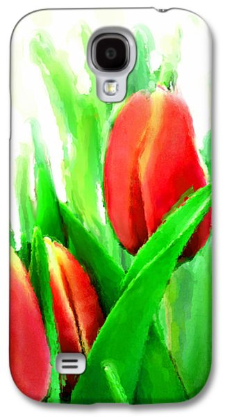 Realism Mixed Media Galaxy S4 Cases - Tulips Galaxy S4 Case by Moon Stumpp