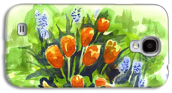 Early Spring Paintings Galaxy S4 Cases - Tulips with Blue Grape Hyacinths Explosion Galaxy S4 Case by Kip DeVore