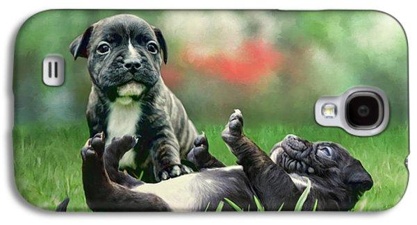 Puppies Digital Art Galaxy S4 Cases - Tummy Rubs Galaxy S4 Case by Angelgold Art