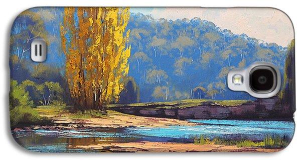 Beautiful Creek Paintings Galaxy S4 Cases - Tumut River Poplar Galaxy S4 Case by Graham Gercken