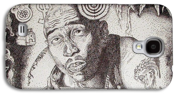 Lounge Drawings Galaxy S4 Cases - Tupac Galaxy S4 Case by Kryztina Spence