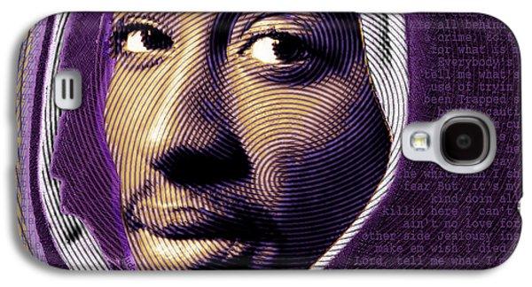 Tupac Shakur And Lyrics Galaxy S4 Case by Tony Rubino