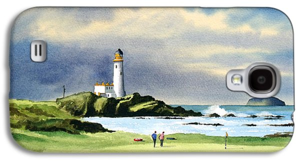 Scotland Paintings Galaxy S4 Cases - Turnberry Golf Course Scotland 10th Green Galaxy S4 Case by Bill Holkham