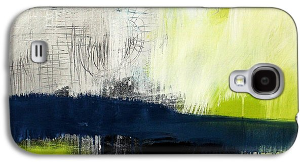 Blue Abstracts Galaxy S4 Cases - Turning Point - contemporary abstract painting Galaxy S4 Case by Linda Woods