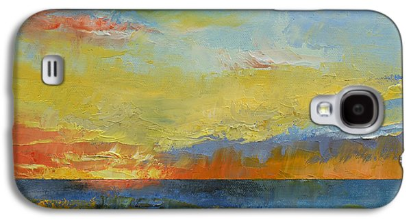 Sunset Abstract Paintings Galaxy S4 Cases - Turquoise Blue Sunset Galaxy S4 Case by Michael Creese
